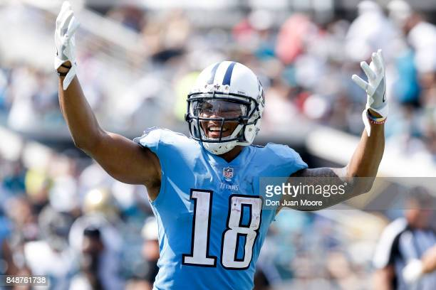 Wide Receiver Rishard Matthews of the Tennessee Titans celebrates after his team scores a touchdown during the game against the Jacksonville Jaguars...