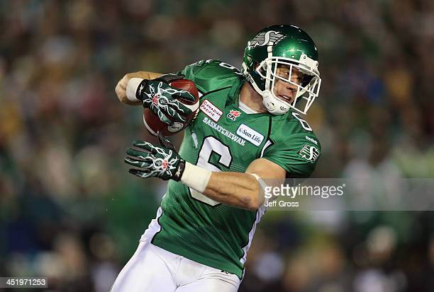 Wide receiver Rob Bagg of the Saskatchewan Roughriders catches a pass against the Hamilton TigerCats during the 101st Grey Cup Championship Game at...