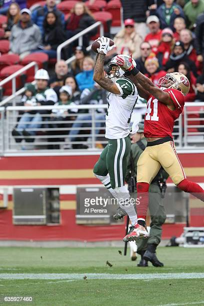 Wide Receiver Robby Anderson of the New York Jets has a big catch against the San Francisco 49ers at Levi's Stadium on December 11 2016 in Santa...