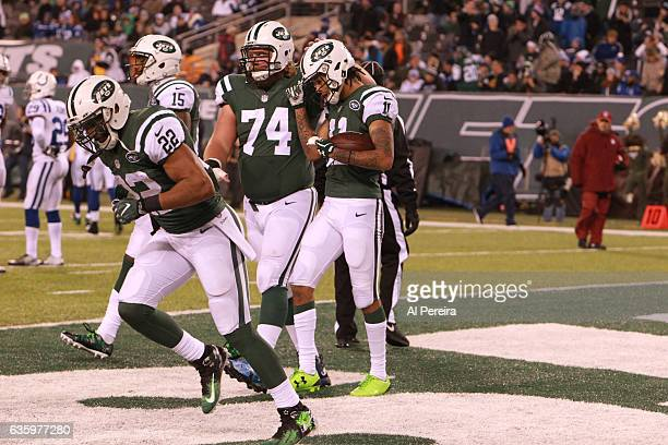 Wide Receiver Robby Anderson of the New York Jets has a long touchdown against the Indianapolis Colts during their game at MetLife Stadium on...