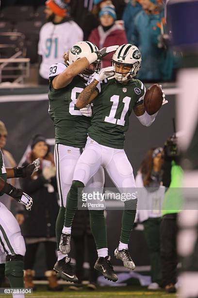 Wide Receiver Robby Anderson of the New York Jets has a Touchdown against the Miami Dolphins at MetLife Stadium on December 17 2016 in East...
