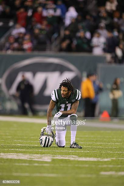 Wide Receiver Robby Anderson of the New York Jets in action against the New England Patriots on November 27 2016 at MetLife Stadium in East...
