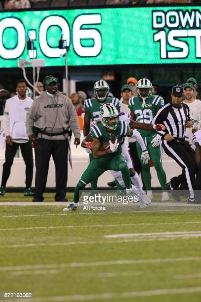 Wide Receiver Robby Anderson of the New York Jets in action against the Buffalo Bills at MetLife Stadium on November 2 2017 in East Rutherford New...