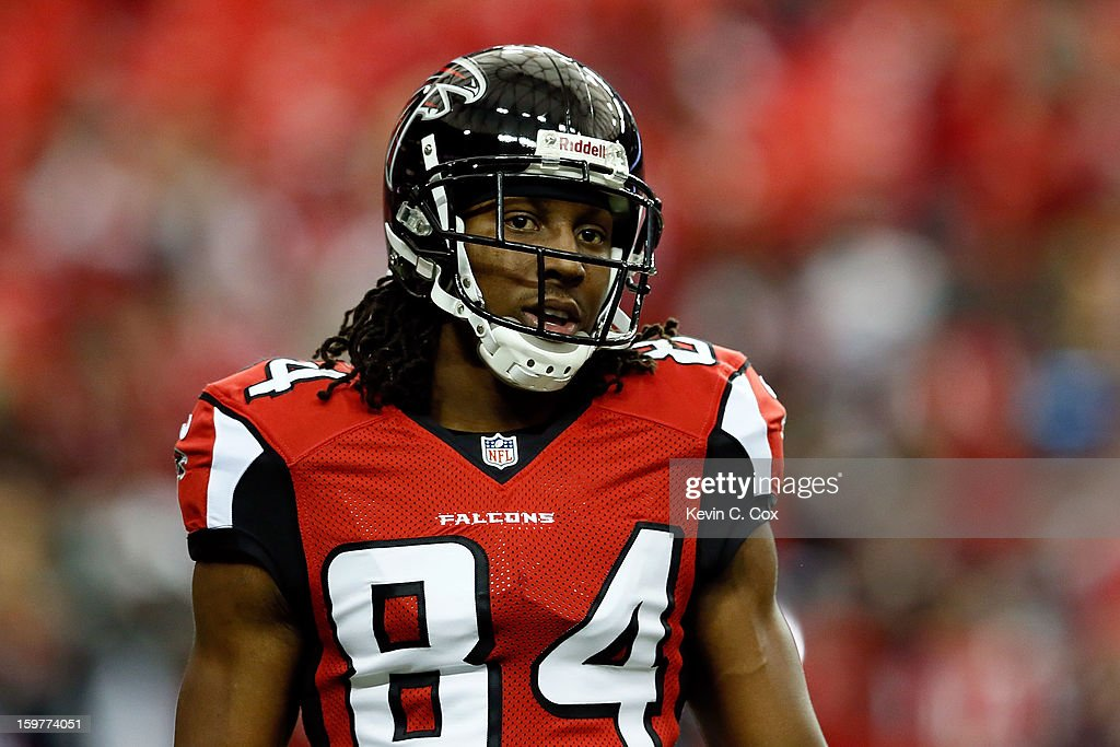 Wide receiver Roddy White #84 of the Atlanta Falcons looks on before taking on the San Francisco 49ers in the NFC Championship game at the Georgia Dome on January 20, 2013 in Atlanta, Georgia.