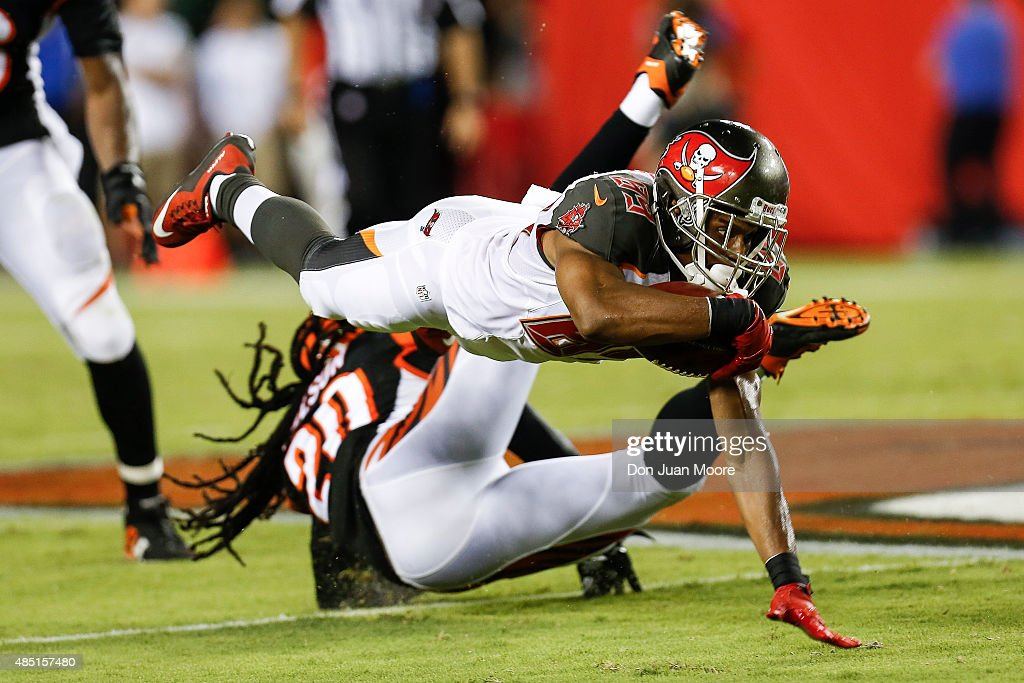 Wide Receiver Russell Shepard #89 of the Tampa Bay Buccaneers makes a driving catch over Cornerback Reggie Nelson #20 of the Cincinnati Bengals during a preseason game at Raymond James Stadium on August 24, 2015 in Tampa, Florida. The Buccaneers defeated the Bengals 25 to 11.