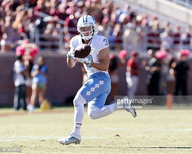 Wide Receiver Ryan Switzer of the North Carolina Tar Heels on a catch play during the game against the Florida State Seminoles at Doak Campbell...