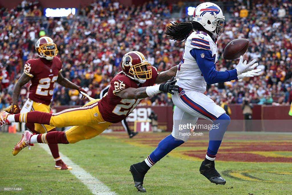 Wide receiver Sammy Watkins of the Buffalo Bills makes a catch in front of cornerback Bashaud Breeland of the Washington Redskins for a third quarter...