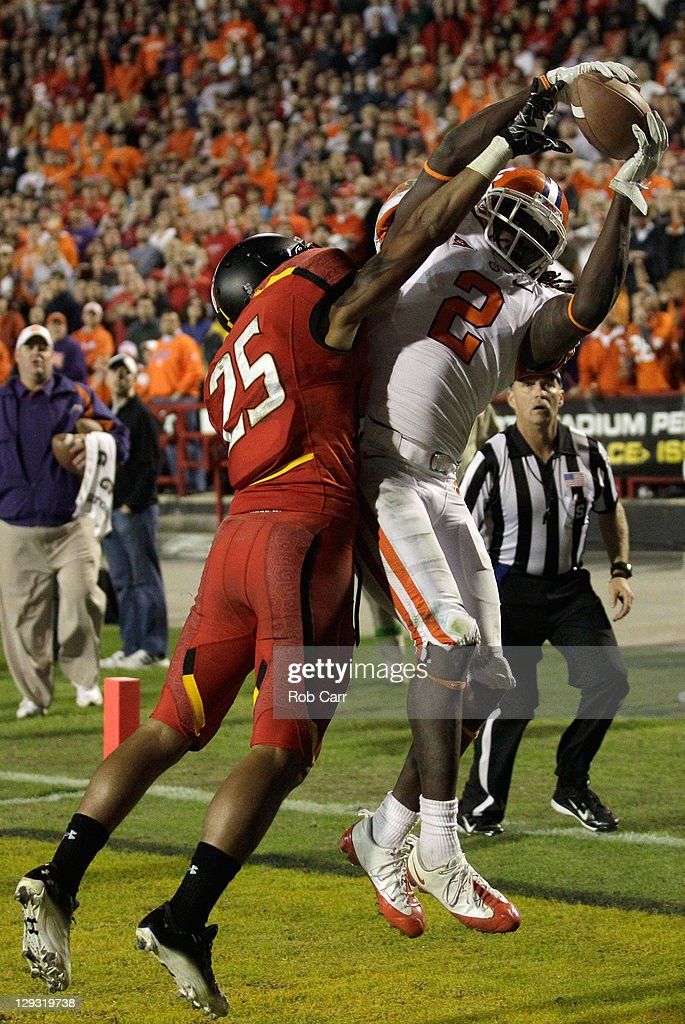 Wide receiver Sammy Watkins #2 of the Clemson Tigers catches a touchdown pass in front of defensive back Dexter McDougle #25 of the Maryland Terrapins during the second half at Byrd Stadium on October 15, 2011 in College Park, Maryland.