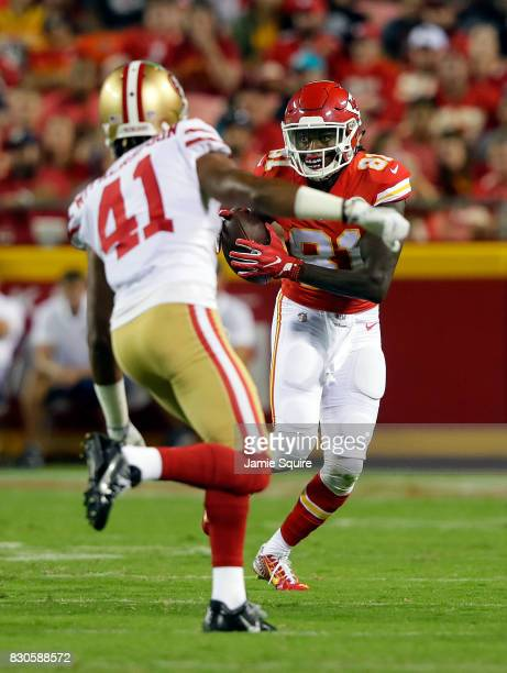 Wide receiver Seantavius Jones of the Kansas City Chiefs carries the ball after making a catch as cornerback Ahkello Witherspoon of the San Francisco...
