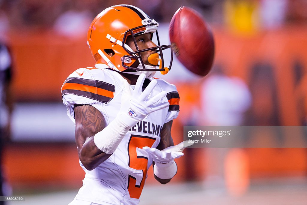 Wide receiver Shane Wynn #5 of the Cleveland Browns catches kickoff during the second half against the Washington Redskins at FirstEnergy Stadium on August 13, 2015 in Cleveland, Ohio. The Redskins defeated the Browns 20-17.