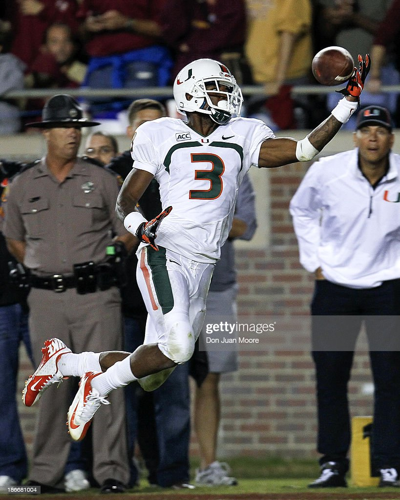 Wide Receiver Stacy Coley #3 of the Miami Hurricanes makes a one-handed catch during the game against the Florida State Seminoles at Doak Campbell Stadium on Bobby Bowden Field on November 2, 2013 in Tallahassee, Florida. 3rd ranked Florida State defeated 7th ranked Miami 41 to 14.