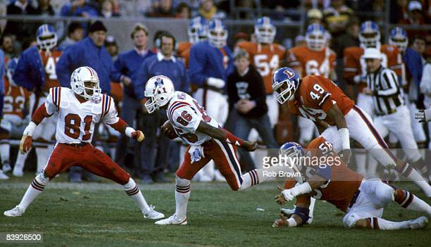 Wide receiver Stanley Morgan of the New England Patriots runs upfield in a 26 to 19 loss to the Denver Broncos on November 4 1984 at Mile High...