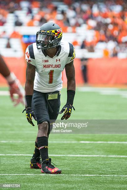 Wide receiver Stefon Diggs of the Maryland Terrapins lines up against the Syracuse Orange on September 20 2014 at The Carrier Dome in Syracuse New...