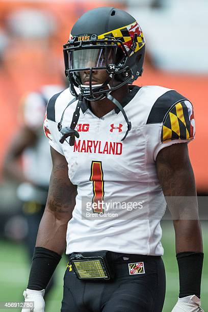 Wide receiver Stefon Diggs of the Maryland Terrapins warms up before a game against the Syracuse Orange on September 20 2014 at The Carrier Dome in...