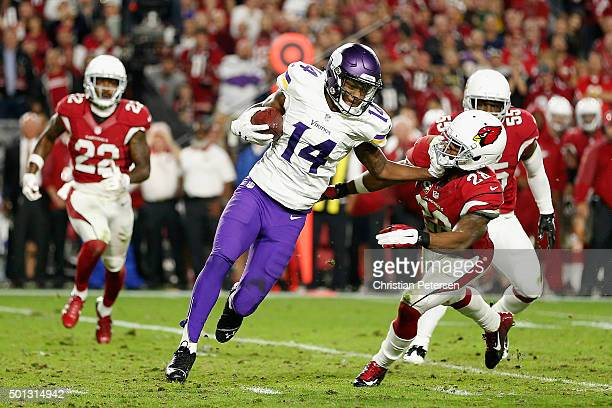 Wide receiver Stefon Diggs of the Minnesota Vikings runs with the football against cornerback Justin Bethel of the Arizona Cardinals during the NFL...