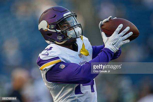 Wide receiver Stefon Diggs of the Minnesota Vikings warms up prior to the game against the Seattle Seahawks at CenturyLink Field on August 18 2016 in...