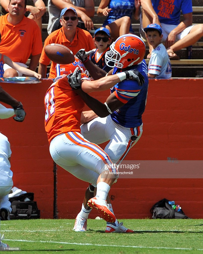 Wide receiver Stephen Alli #89 of the Florida Gators stretches for a pass during the Orange and Blue spring football game April 9, 2010 Ben Hill Griffin Stadium in Gainesville, Florida.
