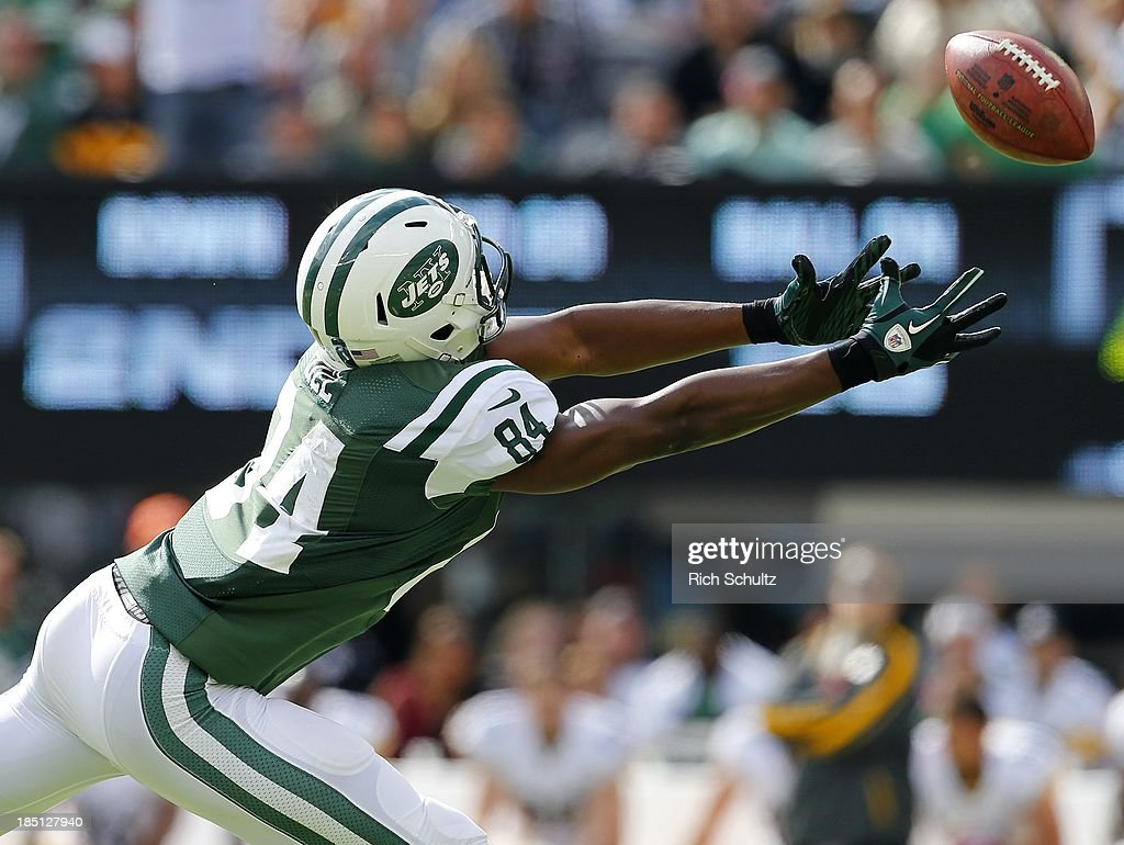 Wide receiver Stephen Hill of the New York Jets makes an attempt to catch an overthrown pass against the Pittsburgh Steelers in the first quarter...