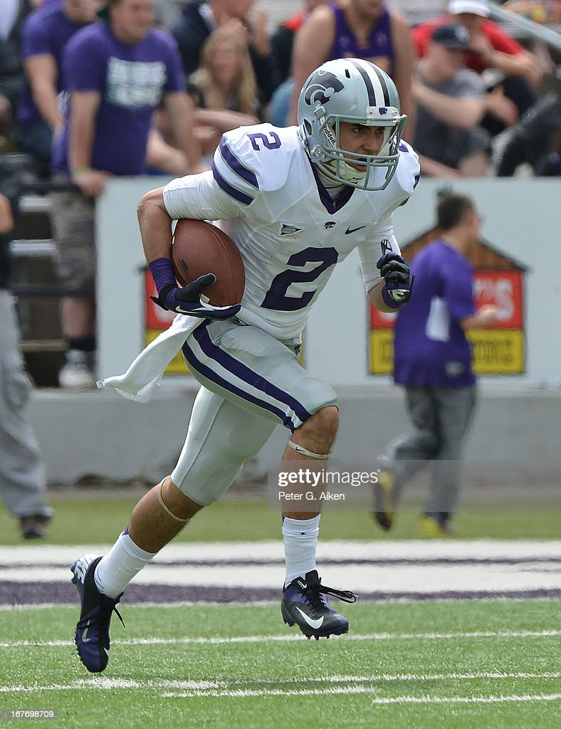 Wide receiver Stephen Johnson #2 of the Kansas State Wildcats returns a kick-off during the Purple and White Spring Game on April 27, 2013 at Bill Snyder Family Stadium in Manhattan, Kansas.