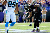 Wide receiver Steve Smith of the Baltimore Ravens celebrates after scoring a second quarter touchdown against the Carolina Panthers at MT Bank...