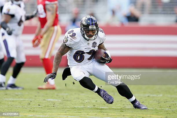 Wide receiver Steve Smith of the Baltimore Ravens in action against the San Francisco 49ers at Levi's Stadium on October 18 2015 in Santa Clara...