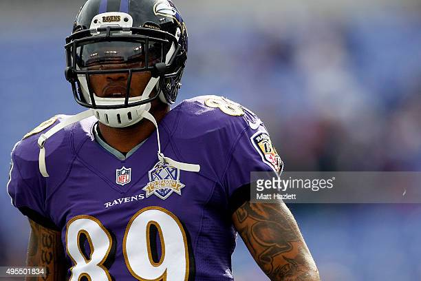 Wide receiver Steve Smith of the Baltimore Ravens looks on prior to a game against the San Diego Chargers at MT Bank Stadium on November 1 2015 in...