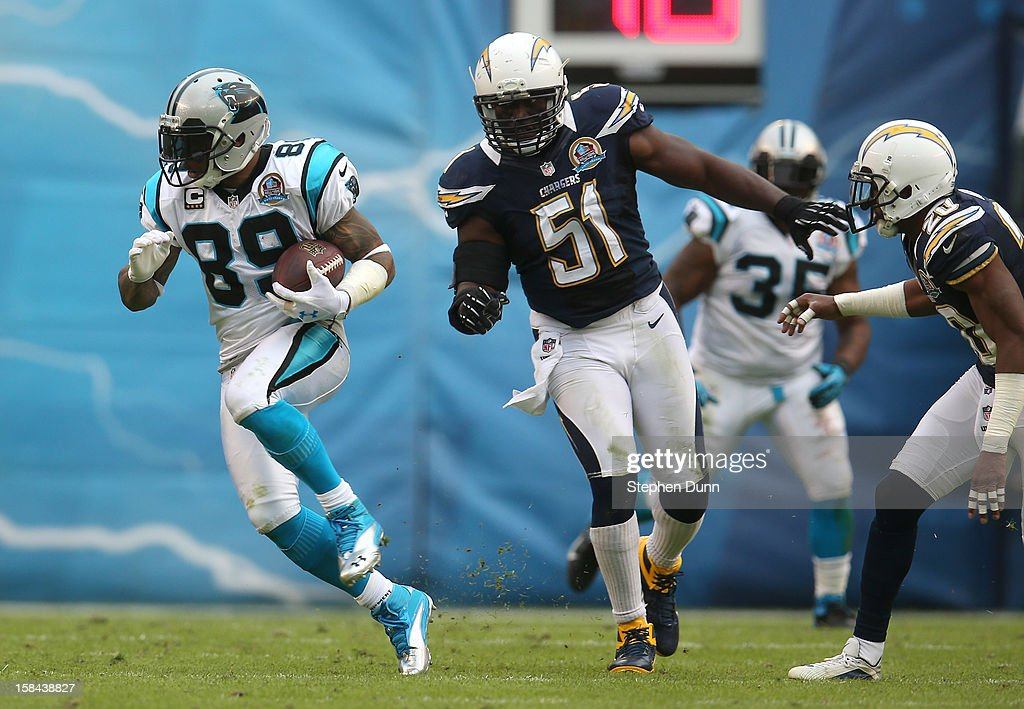 Wide receiver Steve Smith #89 of the Carolina Panthers carries the ball ahead of linebacker <a gi-track='captionPersonalityLinkClicked' href=/galleries/search?phrase=Takeo+Spikes&family=editorial&specificpeople=209233 ng-click='$event.stopPropagation()'>Takeo Spikes</a> #51 of the San Diego Chargers at Qualcomm Stadium on December 16, 2012 in San Diego, California. The Panthers won 31-7.