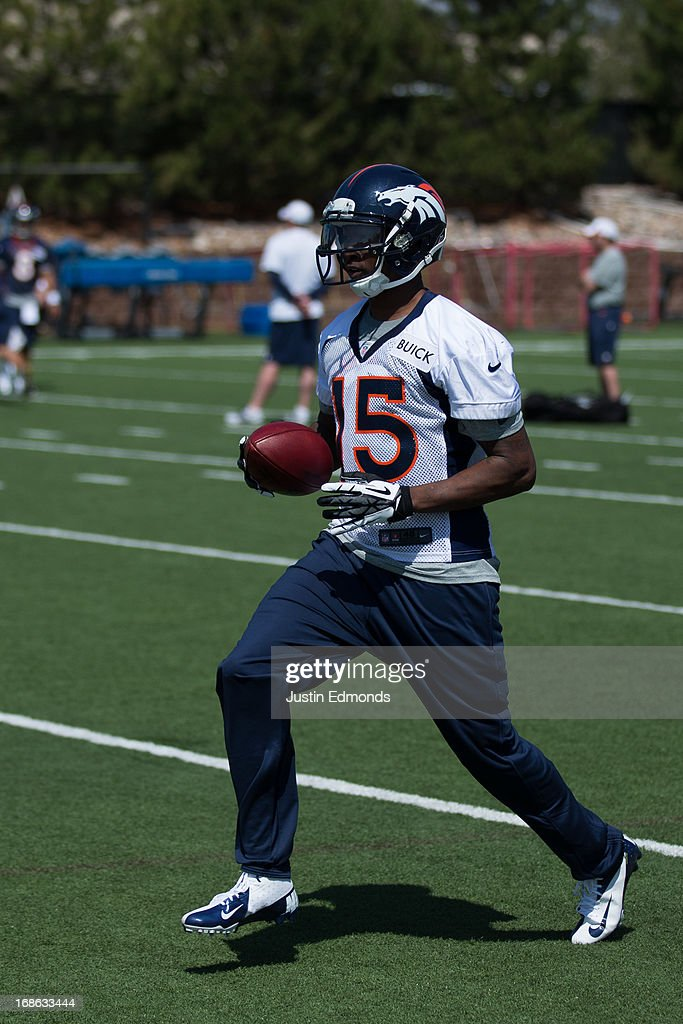 Wide receiver Tavarres King #15 of the Denver Broncos participates in rookie camp at Dove Valley on May 10, 2013 in Englewood, Colorado.