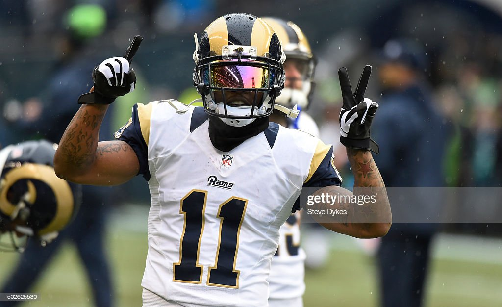 Wide receiver Tavon Austin #11 of the St. Louis Rams warms up before the game against the Seattle Seahawks at CenturyLink Field on December 27, 2015 in Seattle,Washington.