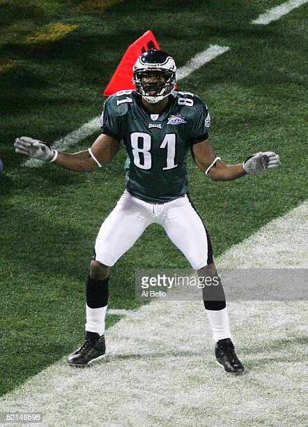 Wide receiver Terrell Owens of the Philadelphia Eagles celebrates after catching a 30yard pass against the New England Patriots in the first quarter...