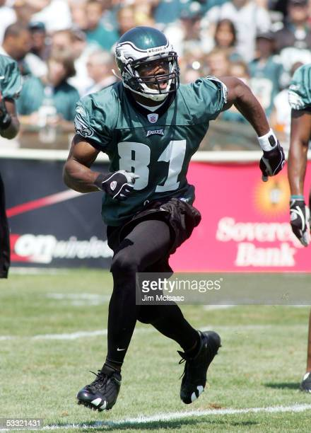 Wide receiver Terrell Owens of the Philadelphia Eagles runs during a drill at training camp on the practice field at Lehigh University on August 3...