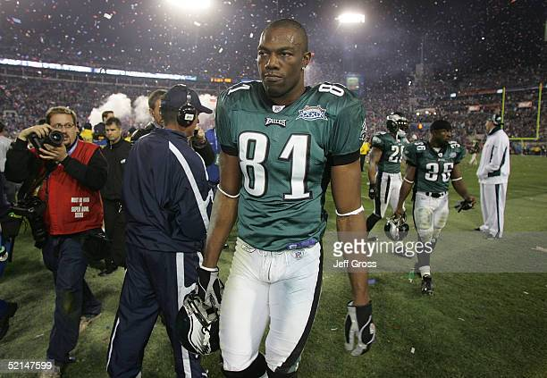 Wide receiver Terrell Owens of the Philadelphia Eagles walks off the field after the the New England Patriots win 2421 in Superbowl XXXIX at Alltel...