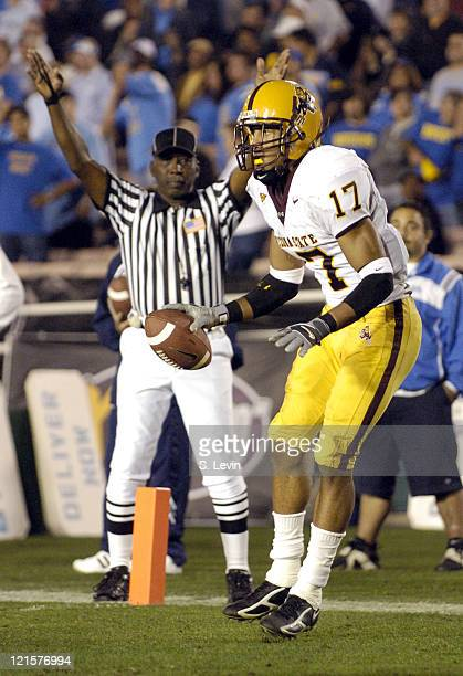 ASU wide receiver Terry Richardson makes a reception in the endzone for a touchdown during the Arizona State vs UCLA game at the Rose Bowl in...