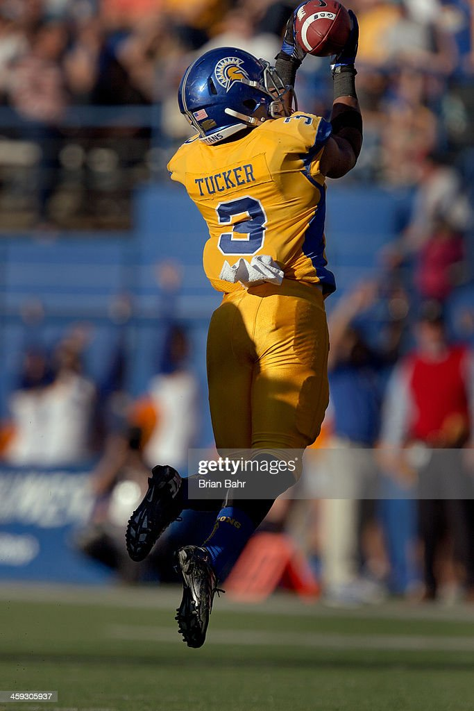 Wide receiver Thomas Tucker of the San Jose State Spartans catches a pass against the Fresno State Bulldogs in the second quarter on November 29 2013...