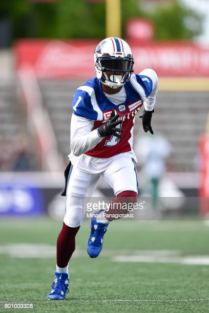 Wide receiver Tiquan Underwood of the Montreal Alouettes runs during the warmup prior to the CFL game against the Saskatchewan Roughriders at...