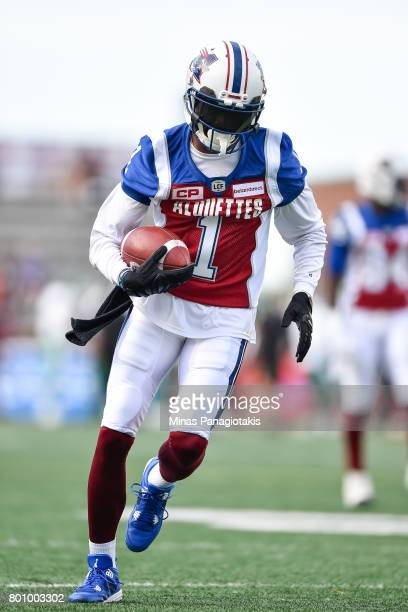Wide receiver Tiquan Underwood of the Montreal Alouettes runs with the ball during the warmup prior to the CFL game against the Saskatchewan...