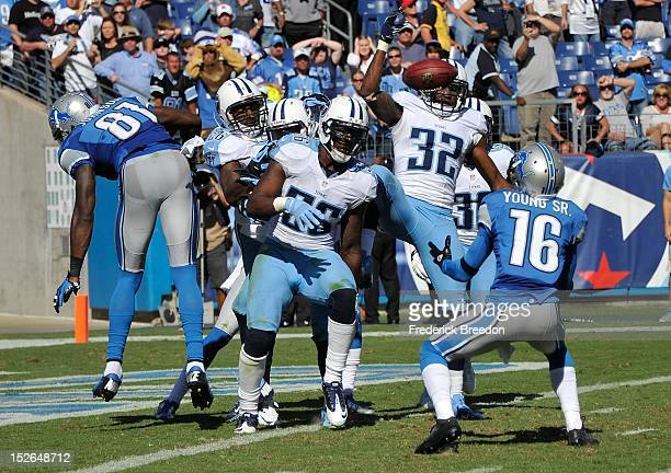 Wide receiver Titus Young of the Detroit Lions catches a batted down hail mary pass against the Tennessee Titans for the game tying score at LP Field...