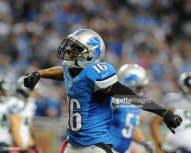 Wide receiver Titus Young of the Detroit Lions celebrates after a touchdown in the fourth quarter against the Seattle Seahawks October 28 2012 at...