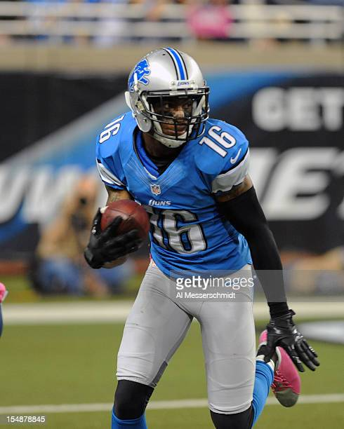 Wide receiver Titus Young of the Detroit Lions returns a kick in the second quarter against the Seattle Seahawks October 28 2012 at Ford Field in...
