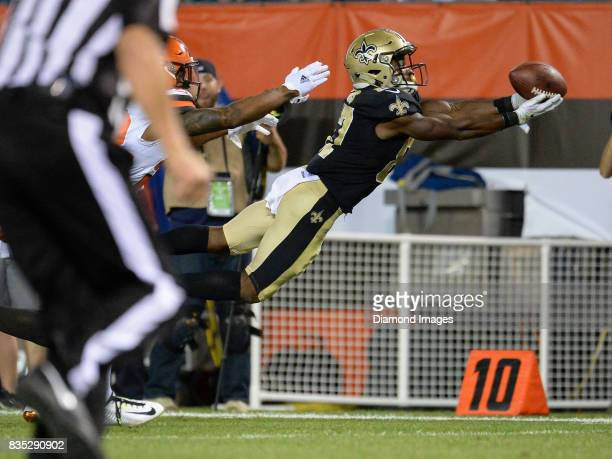 Wide receiver Tommylee Lewis of the New Orleans Saints dives to catch a pass in the third quarter of a preseason game on August 10 2017 against the...