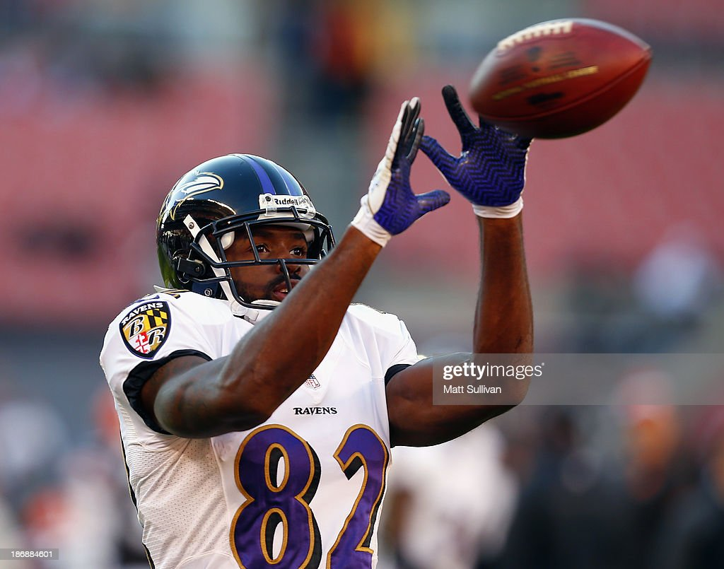 Wide receiver Torrey Smith of the Baltimore Ravens catches a pass before their game against the Cleveland Browns at FirstEnergy Stadium on November 3...
