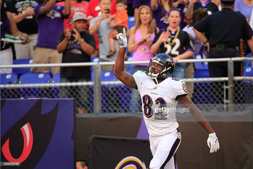 Wide receiver Torrey Smith of the Baltimore Ravens is introduced before the start of an NFL preseason game against the San Francisco 49ers at MT Bank...