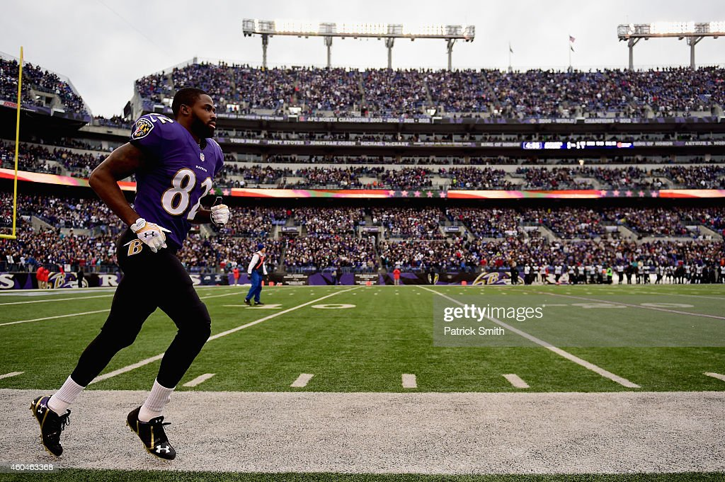 Wide receiver Torrey Smith of the Baltimore Ravens takes the field for a game against the Jacksonville Jaguars at MT Bank Stadium on December 14 2014...