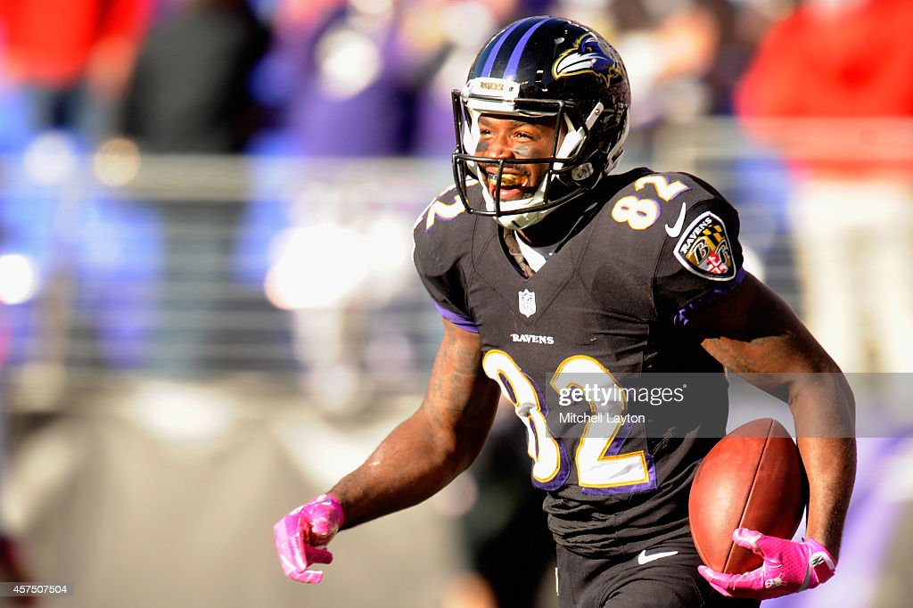 Wide receiver Torrey Smith reacts after scoring a touchdown in the fourth quarter of a game against the Atlanta Falcons at MT Bank Stadium on October...