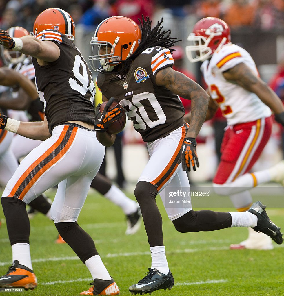 Wide receiver Travis Benjamin #80 of the Cleveland Browns runs for a touchdown during the first half against the Kansas City Chiefs at Cleveland Browns Stadium on December 9, 2012 in Cleveland, Ohio.