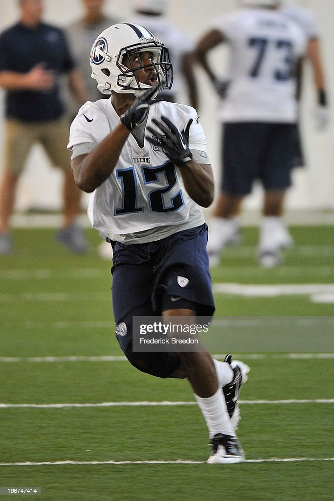 Wide receiver Travis Harvey #12 of the Tennessee Titans attends rookie camp on May 10, 2013 in Nashville, Tennessee.