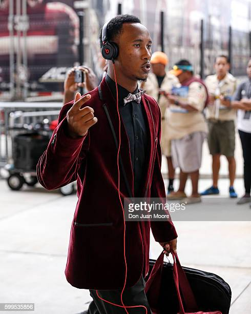 Wide Receiver Travis Rudolph of the Florida State Seminoles arriving to the game before playing the Ole Miss Rebels at Camping World Stadium on...