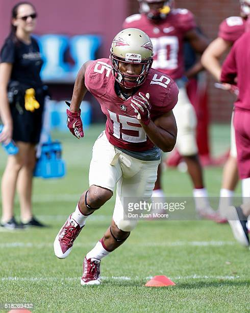 Wide Receiver Travis Rudolph of the Florida State Seminoles during Spring Football Practice at the Dunlap Training Facility on the campus of FSU on...
