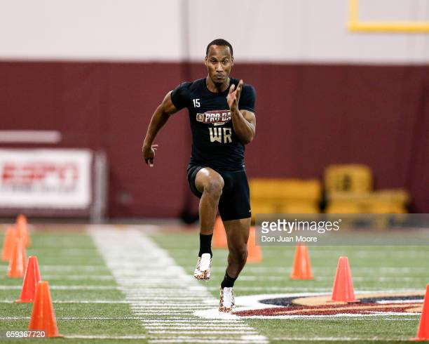 Wide Receiver Travis Rudolph runs the 40 yard dash for NFL Scouts and Coaches during Florida State Pro Day at the Dunlap Training Facility on the...
