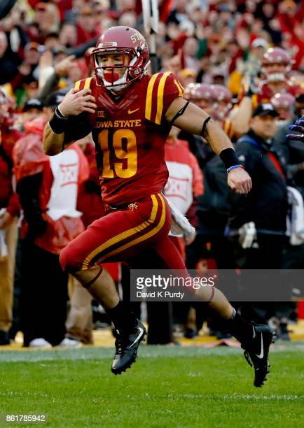 Wide receiver Trever Ryen of the Iowa State Cyclones rushes for yards in the first half of play against the Kansas Jayhawks at Jack Trice Stadium on...